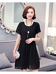 Women's Casual/Daily A Line Dress,Solid Round Neck Knee-length Short Sleeve Cotton Summer Low Rise Inelastic Thin