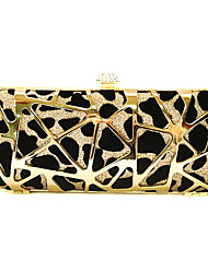 Women Vintage Metal Clutch Eveningn with Leopard Pattern Gold/Silver