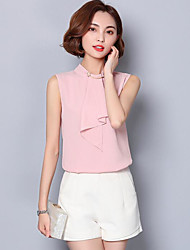 Women's Going out Cute Summer Blouse,Solid Stand Sleeveless Polyester