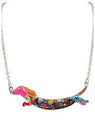 Korean Style Fashion And Personality  Contracted  Adorable Multicolor Running Dog Lady Casual Pendant Necklace Statement Jewelry
