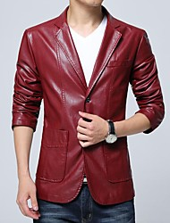 Men's Casual/Daily Cool Spring/Fall Autumn/Fall Leather Jacket,Color Block Plaid/Check Stand Long Sleeve Regular PU