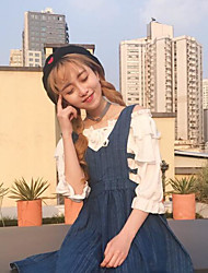 Women's Casual/Daily Simple Denim Dress,Solid Strapless Midi Long Sleeve Cotton Spring Mid Rise Micro-elastic Medium