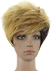 Capless Woman Blonde Short Layered Curly Synthetic Hair Wig