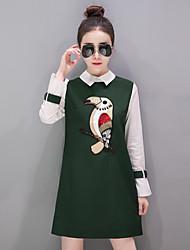 Women's Casual/Daily Simple A Line Dress,Print Shirt Collar Above Knee Long Sleeve Nylon Spring Mid Rise Micro-elastic Medium
