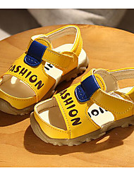 Girls' Flats First Walkers PU Leatherette Spring Fall Outdoor Casual Walking Magic Tape Low Heel Pool Yellow White Flat