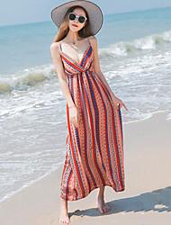 Women's Beach Sexy Boho Chiffon Swing Dress Striped Print Strap Maxi Sleeveless Polyester Summer High Waist Micro-elastic Thin