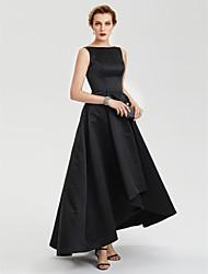 TS Couture Soirée Formel Robe - Petite Robe Noire Trapèze Bateau Asymétrique Satin avec Plissé
