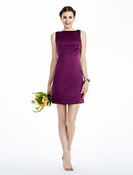 Sheath/ Column Bateau Knee-length Satin Bridesmaid/ Wedding Party/ Homecoming Dress