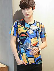 Tee-shirt Homme,Géométrique Imprimé Couleur Pleine simple Eté Manches Courtes Col Arrondi Fibre de bambou Spandex