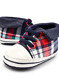Baby Kids' Loafers & Slip-Ons First Walkers Plaid Twill Summer Fall Party & Evening Dress Casual Lace-up Polka Dot Flat Heel Blushing Pink Flat