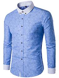 Chemise Homme,Géométrique Décontracté / Quotidien simple Toutes les Saisons Manches Longues Col de Chemise Polyester