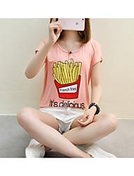 Tee-shirt Femme,Couleur Pleine Lettre et chiffre Plein Air simple Mignon Eté Manches Courtes Col Arrondi Coton Fin