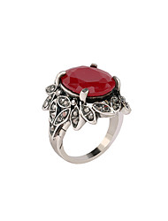 Hollow Statement Rings for Women Big Red Gemstones Paved Bohemian Rings