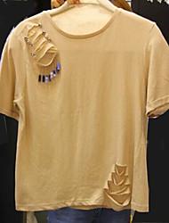 Damen Solide Einfach T-shirt,Rundhalsausschnitt Frühling Sommer Kurzarm Baumwolle Dünn