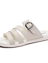Women's Sandals Cowhide Summer Flat Heel White Beige Light Blue 2in-2 3/4in