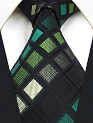 CXL2 Extra Long Mens Necktie Green Multicolor Checked 100% Silk Unique Handmade Fashion Casual