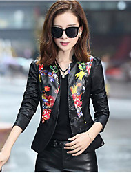 Women's Casual/Daily Simple Spring Leather Jacket,Print V Neck Long Sleeve Short PU