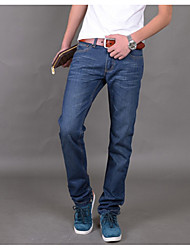 Men's Mid Rise strenchy Jeans Pants,Simple Slim