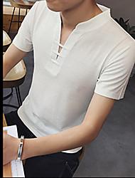 Herren Solide Einfach Aktiv Chinoiserie Alltagskleidung Sport Ball Verabredung Lässig/Alltäglich T-shirt,V-Ausschnitt Kurzarm Baumwolle