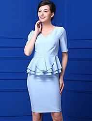 Для женщин Повседневные Лето Рубашка Юбки Костюмы V-образный вырез,Гофрирован Однотонный Слабоэластичная