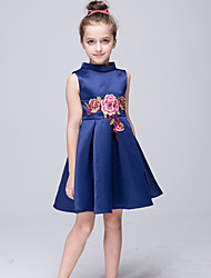 A-Line Knee Length Flower Girl Dress - Stretch Satin Sleeveless High Neck with Applique
