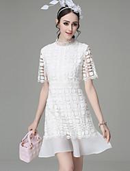 Feminino Bainha Rendas Sereia Vestido,Para Noite Casual Simples Moda de Rua Sofisticado Sólido Colarinho Chinês Acima do JoelhoManga