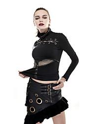 PUNK RAVE Q-283 Women's Party Club Vintage Punk Gothic Steampunk Metal Flounce Sexy Free Prom Wrap Mini Dress