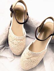 Damen Flache Schuhe Stoff Frühling Beige Flach