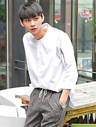 Masculino Camisa Social Casual SimplesEstampa Colorida Linho Colarinho de Camisa Manga ¾ Fina