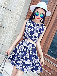 Women's Daily Date Going out Valentine's Day Sexy Simple Summer T-shirt Skirt Suits,Floral Round Neck Sleeveless Micro-elastic