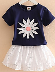 Girls' Cartoon Cotton Summer Short Sleeve Clothing Baby Flower Suits New Summer 2017  Children's Short Sleeve T-Shirt Divided Skirt of The Girls