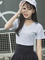 Damen Solide Einfach T-shirt,V-Ausschnitt Sommer Kurzarm Baumwolle