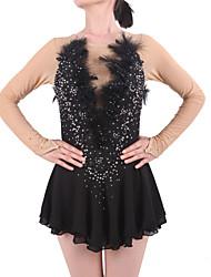 Robe de Patinage Femme Fille Manches Longues Patinage Jupes & Robes Robes Haute élasticité Robe de patinage artistique StrassSpandex