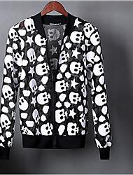 Men's Daily Modern/Comtemporary Summer Jacket,Print V Neck Long Sleeve Regular Polyester