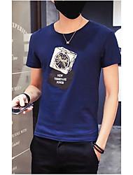 Herren Druck Einfach T-shirt,Rundhalsausschnitt Kurzarm Kunstseide