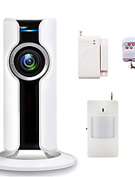 WIFI Home Burglar Security Alarm Systems 180 Degree Fisheye IP Camera CCTV Wireless Phone App Control with SD Card Slot Video Recording