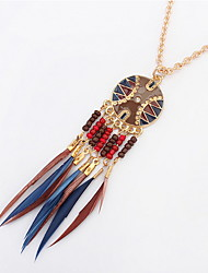 Tassel Multicolor Turkish Necklaces Acrylic Women's Bohemian Beach Pendant Chain Necklace Statement Jewelry