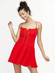 Femme lacet Moulante Robe Soirée Sexy,Couleur Pleine A Bretelles Au dessus du genou Sans Manches Rouge Blanc Noir Polyester Eté