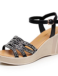 Women's Sandals Club Shoes Microfibre Summer Casual Wedge Heel Black White 3in-3 3/4in