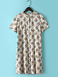 Women's Daily A Line Dress,Floral Print Round Neck Knee-length Short Sleeve Polyester Summer Low Rise Micro-elastic Medium