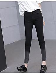 Damen Einfach Mittlere Hüfthöhe strenchy Jeans Skinny Hose Solide