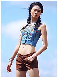 Mujer Chic de Calle Casual/Diario Verano Tank Tops,Con Tirantes Bordado Sin Mangas Algodón Medio