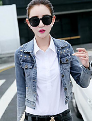 Women's Daily Casual Spring/Fall Denim Jacket,Solid Dots Shirt Collar Long Sleeve Short Denim
