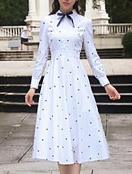 Women's Date Casual/Daily T Shirt Dress,Pattern Shirt Collar Midi Long Sleeve Other Fall Low Rise Inelastic Medium