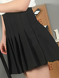 Women's High Rise Mini Skirts,Simple A Line Chiffon Solid