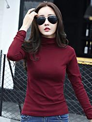 Damen Solide Einfach T-shirt,Rollkragen Langarm Baumwolle