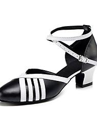 Damen Tanz-Turnschuh Leder Sandalen Sneakers Professionell Verschlussschnalle Blockabsatz Schwarz/Weiß 5 - 6,8 cm Maßfertigung
