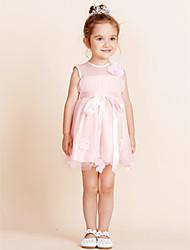 Vestido de baile vestido de flor com joelho - gola de algodão sem mangas com drapeado