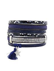 Fashion Women Three  Rows Metal Star  Tassel Magnet Leather Bracelet
