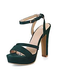 Women's Heels Basic Pump Synthetic Microfiber PU PU Summer Wedding Office & Career Party & Evening Dress Basic Pump Buckle Chunky Heel